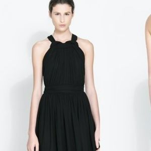 Zara Black Midi Open Back Chiffon Dress XS
